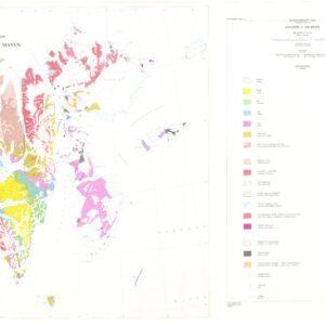 Historisk oversiktskart: berggrunnskart over Svalbard og Jan Mayen